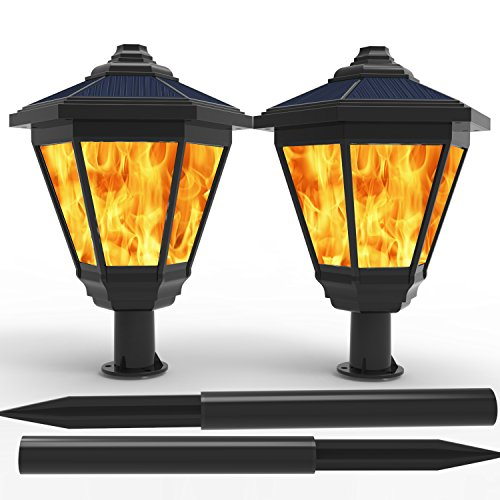 LAMPAT Solar Lights, Waterproof Flickering Flames Torches Lights Outdoor Landscape Decoration Lighting Dusk to Dawn Auto On/Off Security Torch Light for Garden Patio Deck Yard Driveway, 2 Pack (Patio Gas Torches)