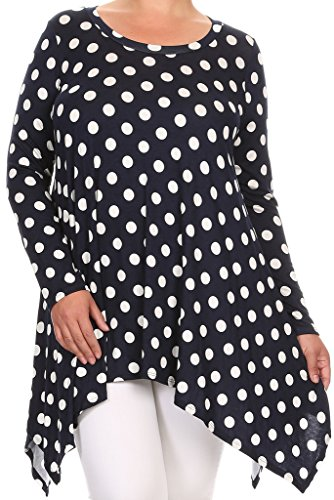 Casual Corner Clothes (BNY Corner Women Plus Size Small Polka Dot Asymmetrical Casual Tunic Top Shirt Navy 3XL (D396 Small POL))