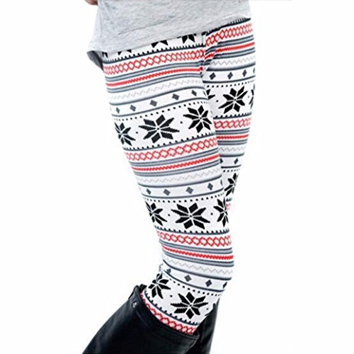 MOKAO Women Christmas Snowflake Leggings Skinny Pencil Pants Trousers