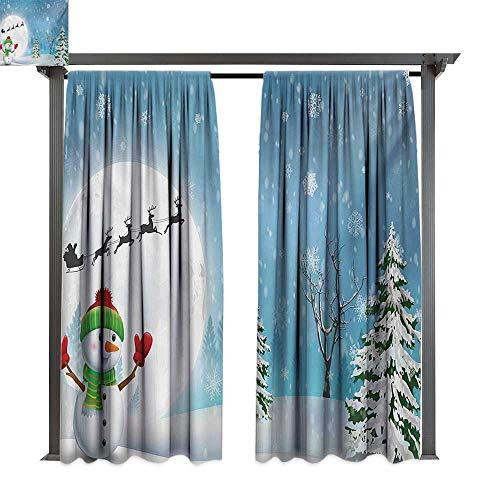 erproof Curtain Christmas Jolly Snowman Under Full Moon Waving to Santa Claus with Reindeer Sleigh Kids W120 xL84 Suitable for Front Porch,pergola,Cabana,Covered Patio ()