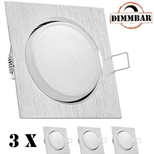 3er LED Einbauleuchten Set extra flach in Aluminium gebürstet mit LED GX53 Markenlampe von LEDANDO - DIMMBAR - 4,5W - warmweiss - 120° Abstrahlwinkel - 30W Ersatz - geringe Einbautiefe - LED Spot 4,5 Watt - Einbauleuchte LED Spot