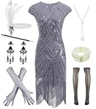 Women 1920s Vintage Flapper Fringe Beaded Gatsby Party Dress with 20s Accessories Set (S, Grey)