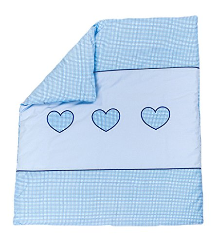 Quilt with Embroidered Heart/Duvet Filling Suitable for Crib/Pram - BLUE BabyComfort
