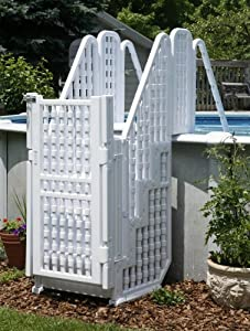 above ground pool steps ladder w gate lock