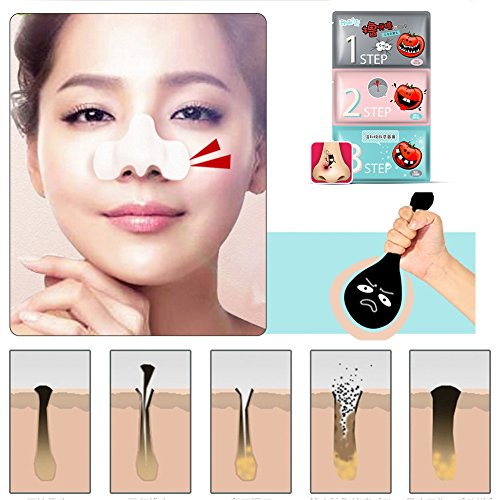 3 Steps Tomato Pie Blackhead Remover Mask Deep Cleaning Paste Shrink Pores Kit Purifying Mud Pig Nose Deeply Root Out (Tomato Paste Brands)