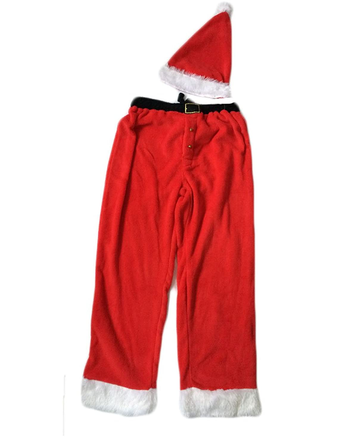 Joe Boxer Men\'s Christmas Fleece Pajama Pants & Santa Hat (Small) at ...