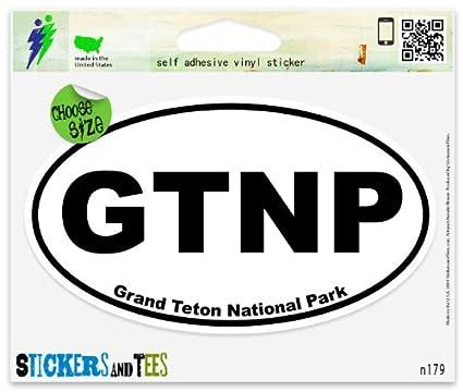Grand teton national park oval vinyl car bumper window sticker 5