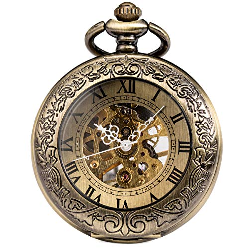 ManChDa Mechanical Pocket Watch for Men Women Special Magnifier Half Hunter Engraved Case Arabic Numerals with Chain + Gift Box (Bronze)