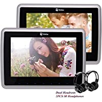 10.1 Inch 1024600 HD LCD Screen Auto Monitor Car HeadrestS DVD Player With 2PCS Support HDMI USB IR FM Transmitter Remote Control 1080P Video Includes AC Adapter Wireless Headphones