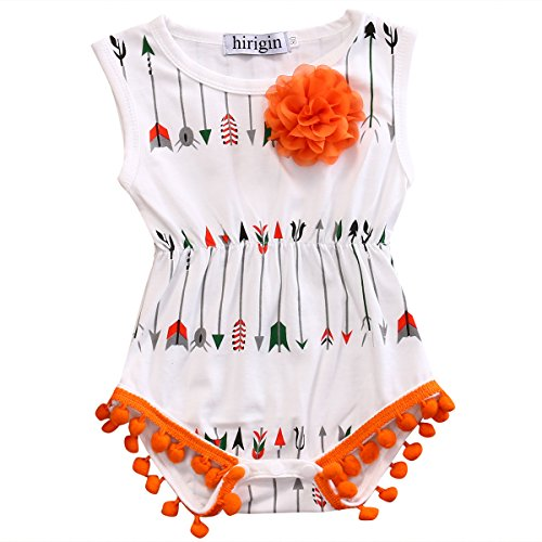 Price comparison product image Baby Girls Clothing Arrow Pattern Pompon Design Romper with Removable Flower Breastpin (3-6m, White)