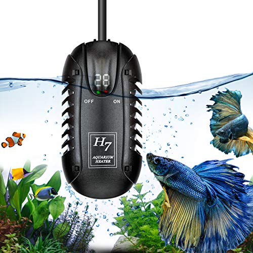 (Aquarium Heater 200W Fish tank Betta Fish Heater Submersible Aquarium Water Heater Turtle Tank Heater Warmer Small Mini Fish Tank Aquarium Heater With LED Temperature Display Thermostat visible Adjust)