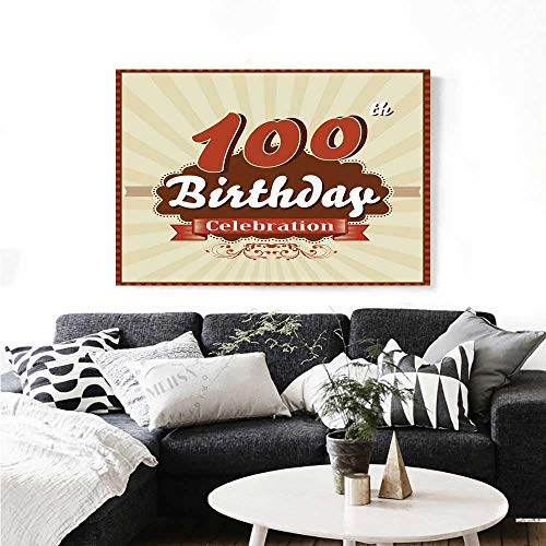 Warm Family 100th Birthday The Picture for Home Decoration Chocolate Wrap Like Brown Party Invitation Hundred Years Celebration Customizable Wall Stickers 48