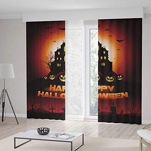 C COABALLA Decor Collection TT01 Halloween for Bedroom Living Dining Room Kids Youth Room Happy Halloween Haunted House Flying Bats 2 Panel Set 141W x -