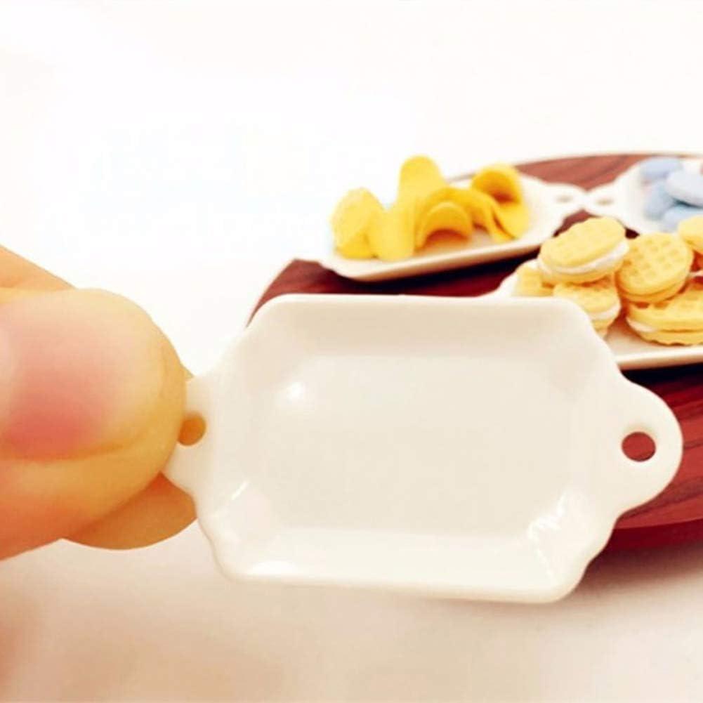 33 Pcs Dollhouse Miniature Tableware Plastic Plate Dishes Set Mini Food Toys