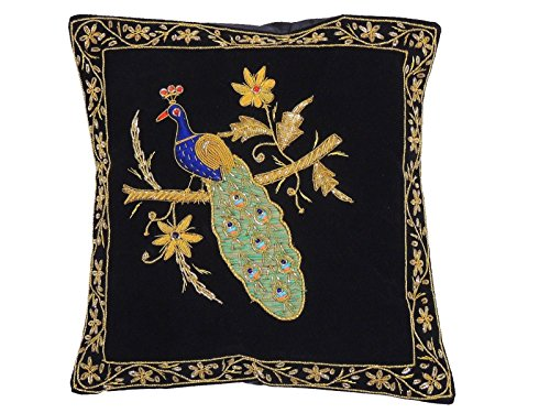 NovaHaat Black Velvet 100% Hand Embroidered Decorative Indian Toss Throw Accent Pillows Cushion COVER with incredible Peacock motif in Gold Metallic Dabka work embroidery, from Uttar Pradesh in North