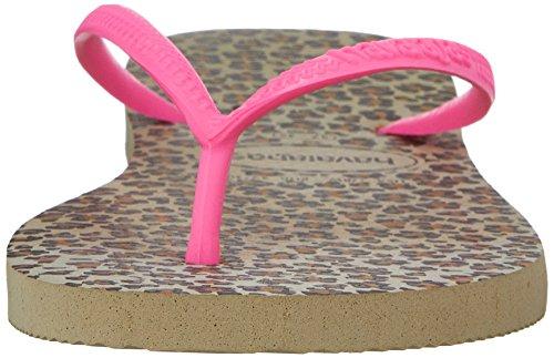 Havaianas Damen Slim Animals Sandale Flip Flop, Beige / Koralle Neu, 35 BR / 6 W US Sandgrau / Pink