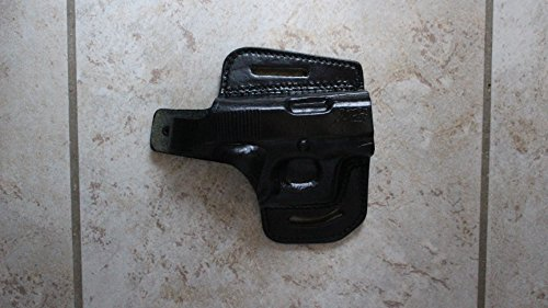 ALIS344 2 Slot Pancake Leather Holster Open-end Thumb Break Fits Colt Kimber Ruger Springfield Taurus 1911 RH Handmade! (Black)