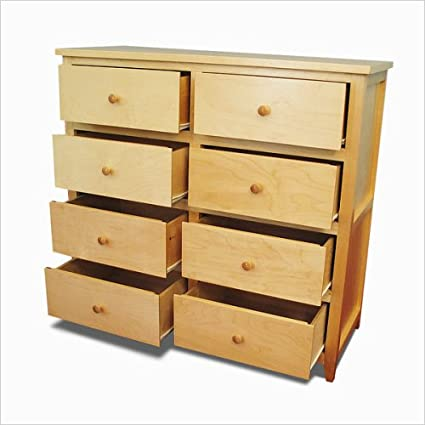 Gothic Cabinet Craft Unfinished Wood Flat Shaker Dresser With Eight Drawers