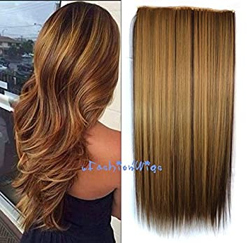 f95d78c41b Amazon.com   Honey Blonde Highlight Dark Brown Two Colors Balayage Ombre  Hair Extensions