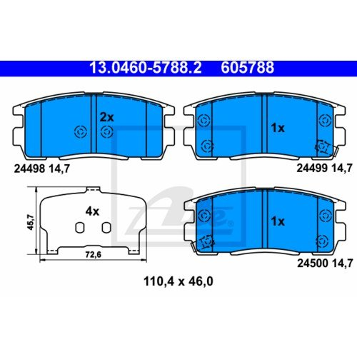 2 x Ate de freno + freno Set trasero Chevrolet Captiva C100, C140 2.4: Amazon.es: Coche y moto