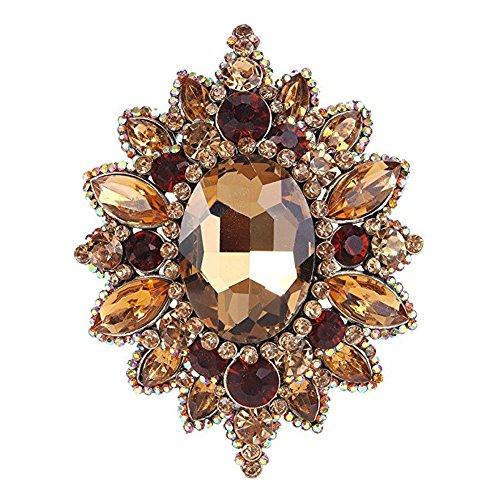 eGlomart Vintage Style Crystal Rhinestone Flower Brooch Gold-tone Pins Woman Jewelry Yellow ()