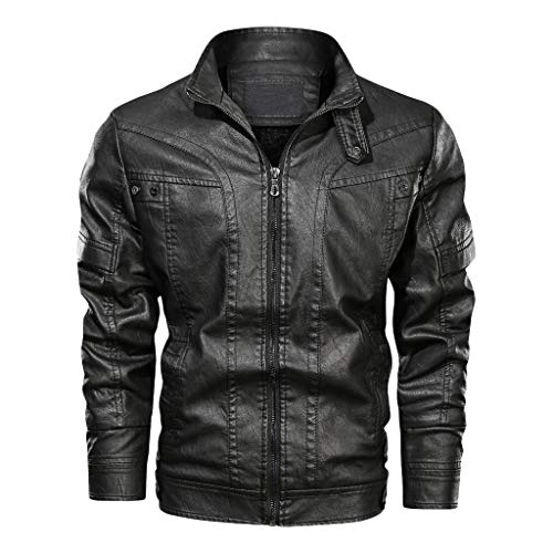 SAYEI_Men's Wear Mens Leather Jacket Slim Fit Stand Collar PU Motorcycle Jacket Lightweight