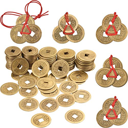 Boao 50 Pieces 1 Inch Chinese Feng Shui Coins I Ching Coins and 5 Sets Fortune Coins with Red Strings for Wealth and Good Luck