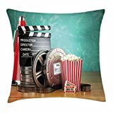 TINA-R Movie Theater Throw Pillow Cushion Cover, Production Theme 3D Film Reels Clapperboard Tickets Popcorn and Megaphone, Decorative Square Pillow Case, 18 X 18 Inches, Multicolor