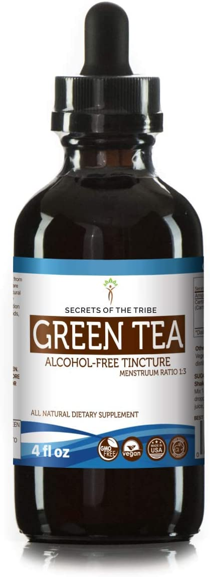 Green Tea Tincture Alcohol-Free Extract, Organic Camelia Sinesis Dried Leaf Tincture Supplement 4 FL OZ