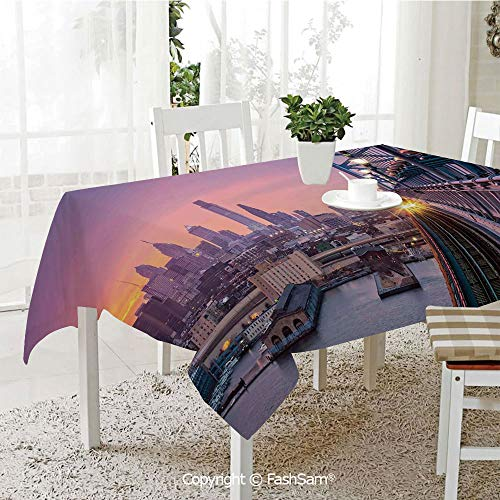 FashSam Party Decorations Tablecloth Philadelphia Under a Hazy Sunset Train on Vibrant Bridge Skyscrapers Landscape Dining Room Kitchen Rectangular Table Cover(W55 xL72)