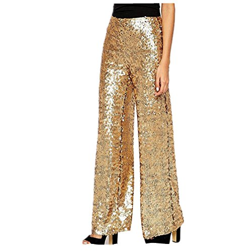 Wiipu Women's Zipper Flare Paillette Sequined Pants Trousers(J889)- Medium Golden