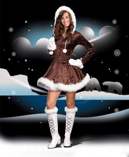 Eskimo Costume Halloween (Sugar Sugar by DG Brands Cute Furry Hooded Juniors Teen Costume, Eskimo Cutie Pie, Brown, X-Small)