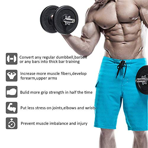 Biceps Increase Arm Size Forearms and Grip Strength Set of 2 CampTeck Thick Bar Grips Silicone Bar Grips for Barbell /& Dumbbells Set of 2 Forearms and Grip Strength Blue Triceps