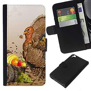 KLONGSHOP // Tirón de la caja Cartera de cuero con ranuras para tarjetas - Frutas Turquía - HTC Desire 820 //