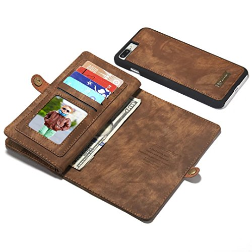 "iPhone 7 Plus / iPhone 8 Plus Coque, CaseMe 008 Housse en Cuir avec La Fonction Stand portefeuille Wallet style Cover Étui pour Apple iPhone 8 Plus 5.5"" (marron)"