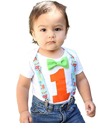 Noah's Boytique Baby Boys 1st Birthday Bodysuit with Bow Tie 18-24 M Fish ()