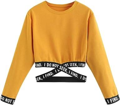 Sudadera Niña Sudadera Mujer Corta T-Shirt Camisetas de Manga Larga con Capucha Chicas Impresión Cortita Deportivo Casual Sweatshirt Sudadera Mujer Sudaderas Primavera Deportiva Lonshell: Amazon.es: Ropa y accesorios