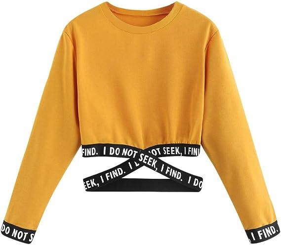 Geili Damen Damen Sweatshirt, Mädchen Langarm Bandage Mit