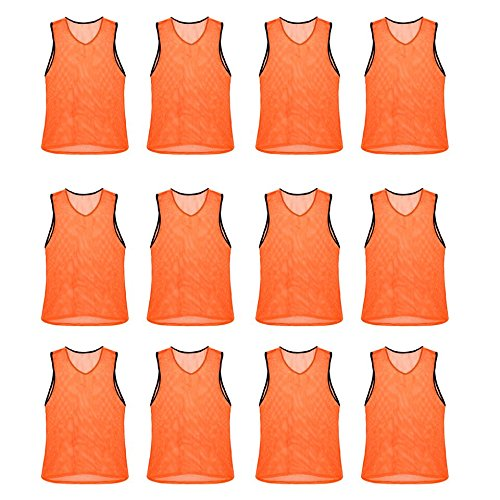 Nylon Mesh Scrimmage Team Practice Vests Pinnies Jerseys for Children Youth Sports Basketball, Soccer, Football, Volleyball (Orange, Youth)