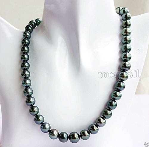 Fashion Natural 10mm Black Akoya Cultured Shell Pearl Necklace 18