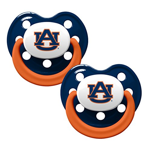 Baby Fanatic NCAA 2 Pack Baby Pacifier Auburn University Tigers, (Auburn Tigers Pacifier)