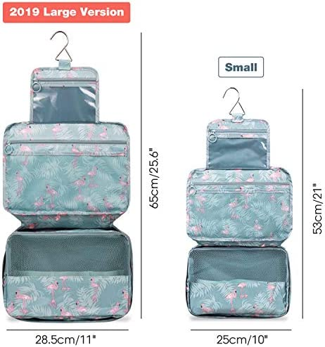 Large Hanging Travel Toiletry Bag Cosmetic Makeup Organizer for Women and Girls Waterproof (A-Flamingo Large)
