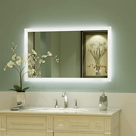Amazon Com Exbrite 40 X 24 Inch Backlit Led Lighted Bathroom Vanity Mirror Anti Fog Dimmable Touch Button Slim 90 Cri Waterproof Ip44 Vertical Horizontal Wall Mounted Way Kitchen Dining