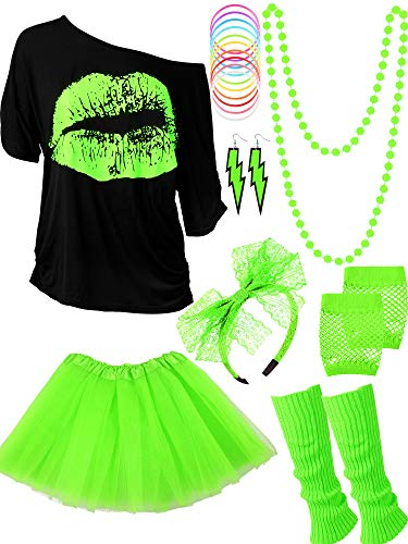 80s Costume Accessories Set T-Shirt Tutu Headband Earring Necklace Leg Warmers (M, Fluorescent Green)