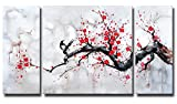 Hand-painted Modern Chinese Style Cherry Blossom The Plum Blossom Tree Wall Art Picture 3pcs Oil Paintings on Canvas Handmade for Living Room Home Decor Framed Stretched Gallery Canvas Wrap Artwork