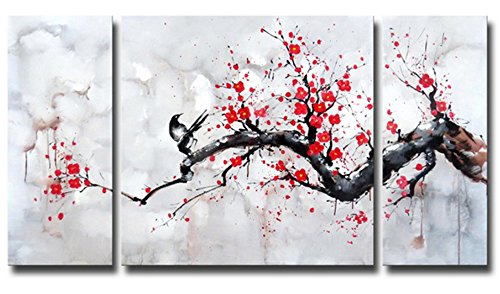 Blossom Cherry Pictures (Black White Red Modern Abstract Cherry Blossom Wall Art Picture 3pcs Oil Paintings on Canvas Handmade for Living Room Home Decor Framed)