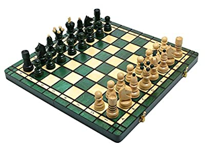 Green Large Pearl Hand Carved Wooden Chess Set Wood
