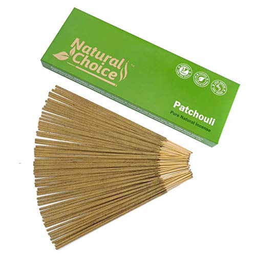(Natural Choice Incense Patchouli Incense Sticks 100 Grams, Low Smoke Traditional Incense Sticks Made from Scratch, Never Dipped)