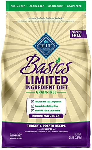 Blue Buffalo Basics Limited Ingredient Diet Grain Free, Natural Indoor Mature Dry Cat Food, Turkey & Potato 5-lb -