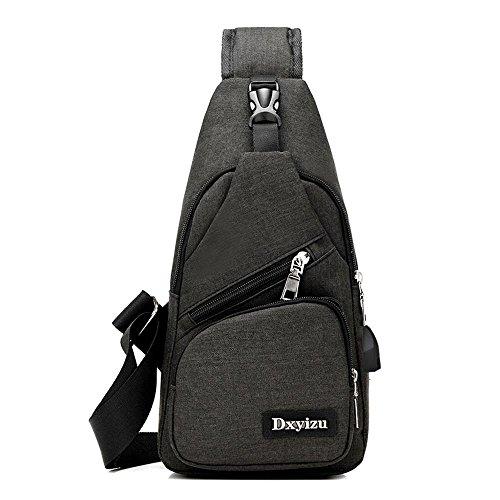 Aoligei Toile USB chargeur poitrine Backpack Sac masculin sac version coréenne occasionnels poitrine mâles et femelles épaule Messager hommes sac D